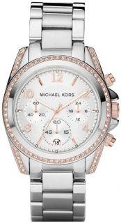 MICHAEL KORS SILVER/ROSE GOLD S/S BLAIR GLITZ CRYSTALS WATCH MK5459 N