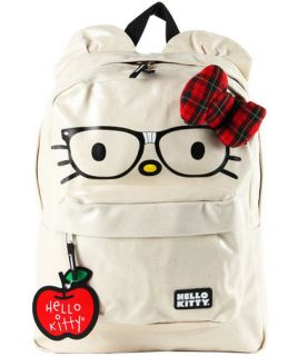 New LOUNGEFLY School Bag HELLO KITTY Backpack NERDS FACE 3D BOW