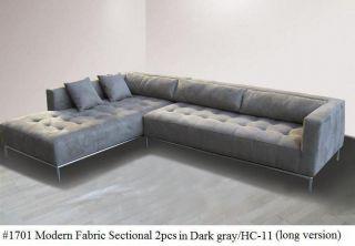 Fabric Modern tufted Sectional Sofa #1701 Dark gray (Large version