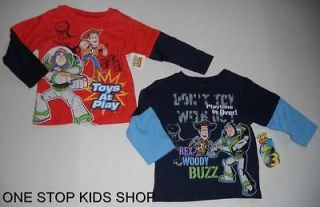 TOY STORY Toddler Boys 2T 3T 4T Long Sleeve SHIRT Tee Top BUZZ WOODY