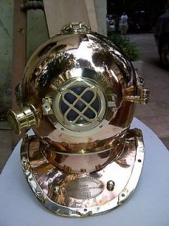 DIVER DIVING HELMET US NAVY MARK V ANTIQUE 18 BRASS DIVER HELMET
