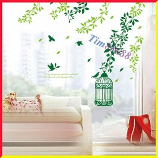 Tree Bird Cage Removable Wall Vinyl Sticker Decals Wallpaper