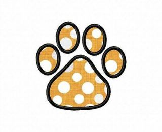applique paw print machine embroidery design 4 sizes more options