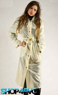Full Length Waterproof PVC Mackintosh Plastic Mac Raincoat With Hood