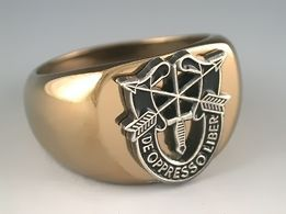 ARMY SPECIAL FORCES LOGO MILITARY STAINLESS STEEL GOLD RING ALL SIZES