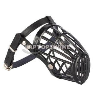 leather basket cage adjustable pet dog muzzle black size 3