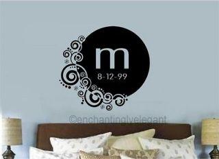 Custom Monogram With Date Vinyl Decal Sticker Words Letters Swirl