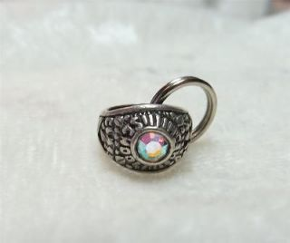 Vintage Sterling Silver 925 3D High School Class Ring Rhinestone