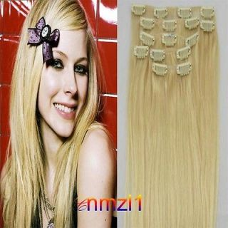 Long&Charms ~20 7pcs 70G Clip in human hair extensions hair Light