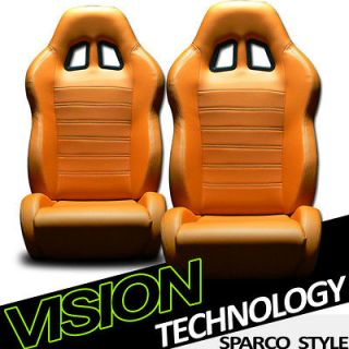 2pc SP Style PVC Leather Orange Sport Racing Bucket Seats+Sliders New