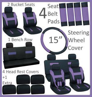 Black Auto Car Seat Cover FREE Steering Wheel Belt Pad Head Rest