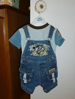 Disney Mickey Mouse Donald Duck overall jeans and T shirt EUC baby