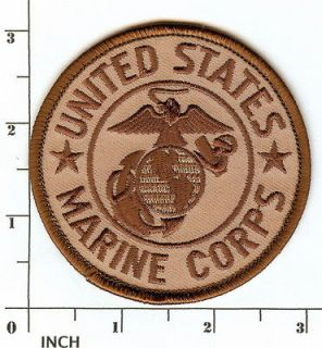 USMC United States Marine Corps 3 desert TAN PATCH Eagle Globe Anchor
