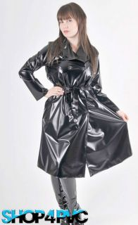 Waterproof PVC Trench Coat Mid length Plastic Mackintosh Rain Coat