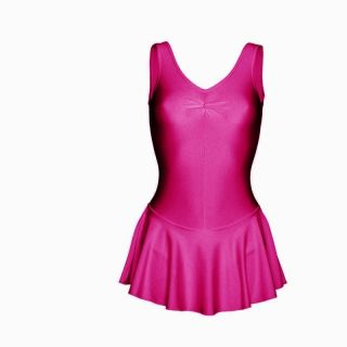 new mulberry pink nylon skirted sissy leotard all sizes location