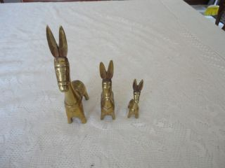 trio brass donkey mules set figurine long ears time left