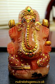 ROSE QUARTZ LORD GANESHA GANESH GANPATI HAND CARVE PAINTED STATUE IDOL