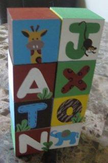 Baby Personalize Name Blocks Nursery Decor ZOO animals choose a theme