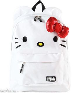 Sanrio LOUNGEFLY Hello Kitty RED BOW 3D Ears LARGE WHITE BACKPACK gym
