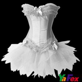 Cabaret SEXY Satin Burlesque Corset & Tutu Petticoat Skirt Fancy Dress