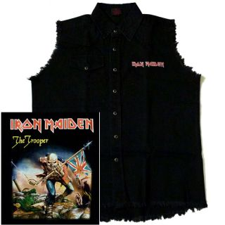 IRON MAIDEN The Trooper Mens Official Black Sleeveless WORK SHIRT M L