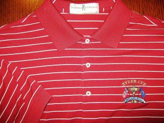 FAIRWAY & GREENE RED ISH STRIPED GOLF SHIRT RYDER CUP EXCELLENT COND