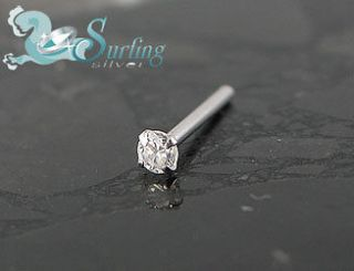NEW SOLID 14K WHITE GOLD CZ NOSE BONE PIN RING STUD 20G