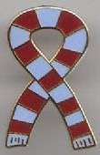 Claret / Maroon Sky Blue and White Retro Bar Scarf Ribbon Pin Badge
