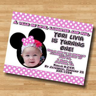 Minnie Mouse Personalized Digital OR Prints Birthday Invitation Invite