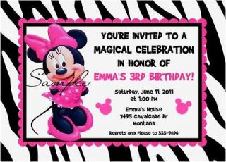 Minnie Mouse Pink Birthday Party Invitations CUTE Zebra 1st 2nd 3rd