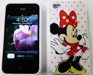4S HARD COVER CASE DISNEY White Minnie MOUSE Red Dot Gel Jelly Gummy