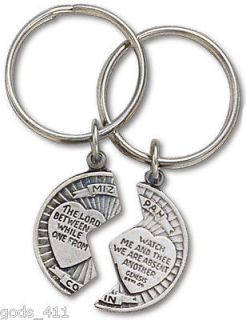 Mizpah Split Coin Pewter Keychain with Verse The Lord Watch Between