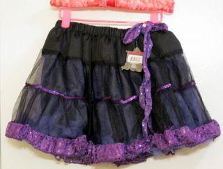 New Monster High Girls Skirt One Size Purple Black Tulle Sequins Skirt