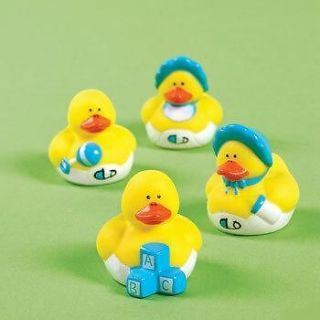 BABY BOY RUBBER DUCKS Dozen Shower Ducky Party Favors Cake Toppers