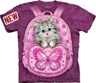 THE MOUNTAIN BACKPACK KITTY CAT FURRY KITTEN CATS PET T SHIRT SMALL