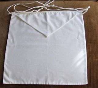 new texas masonic apron white cloth rope tie time left