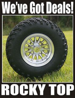 NEW 10x7 Champagne Medusa Golf Cart Wheels and All Terrain Tires