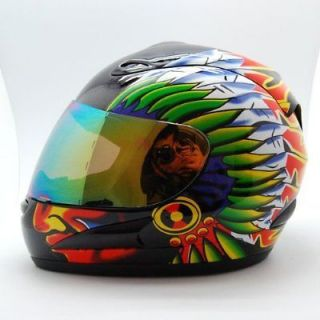 NEW Motorcycle Street Bike Adult Full Face Helmet Indian Glossy Black