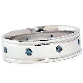 BLUE DIAMOND 6MM MENS COMFORT FIT HIGH POLISHED WEDDING RING BAND 4 12