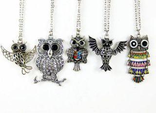 Free ship 5 pcs wholesale lot mix owl bird rhinestone crystal necklace