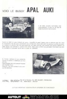1974 apal auki dune buggy vw kit car brochure belgium