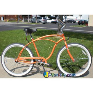Beach Cruiser Bike, Firmstrong URBAN 26 Mens ORANGE Bicycle with