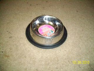 STAINLESS STEEL Non Skid Pet Dog Puppy Cat No Tip Bowl Dish 6oz,8oz