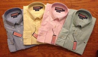 Vineyard Vines Mens Oxford Whale Shirt   Green, Pink, Yellow, Blue; S