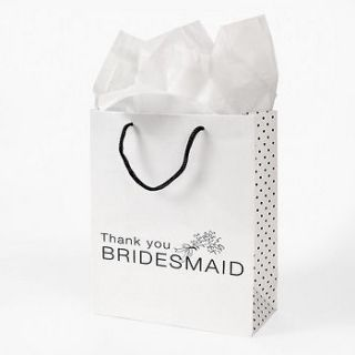 of 12 White Paper Thank You Bridesmaid Wedding Bridal Party Gift Bags