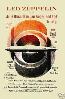 Robert Plant Led Zeppelin at Pasadena California Concert Poster 1969