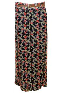 NEW WOMENS LADIES CHIFFON BELTED FLORAL PRINT PALAZZO TROUSER PANTS UK