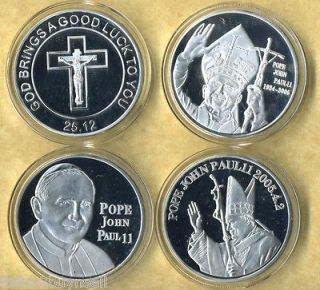 SET OF 3 POPE JOHN PAUL II 1924 2005 SILVER COINS 3 COUNT LOT