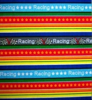 Racing~ Checkered Flag~ Stars~ Stripes~ Bright Fabric 1/2 yard