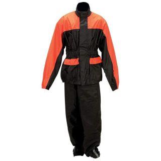 Diamond Plate Black & Orange Motorcycle Rain Suit Jacket & Pants Set